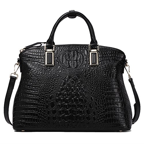 Women Gneuine Leather Handbags【Full-grain Cowhide】Embossed Crocodile Top Handle Bags