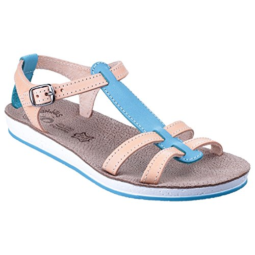 Fantasy Womens/Ladies Lemnos Buckle T Bar Summer Sandals Blue/Natural uzQYTrgVCT