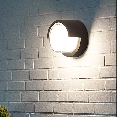 Passica Modern Outdoor LED Porch Wall Light 4000K White Light 12W COB IP65 Waterproof IP65 Sconce Black Metal Matte Hallway Wall Lamp