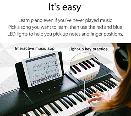 Smart Piano Keyboard 61-Key Portable Light Digital Piano Keyboard,Electronic Keyboard Music LED,Great for Beginner-Kids/Adults Learning/Training (White)