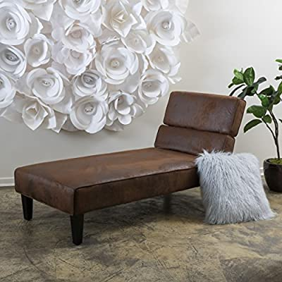 Great Deal Furniture 298289 Bernier Lay Flat Adjustable Chaise Lounge (Brown)