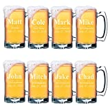 Set of 4, Set of 8 and more Custom Engraved Groomsmen 25 oz Beer Mugs - Personalized Wedding Party Gifts - 3 Lines Style (8)