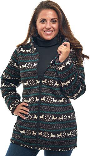 - TrailCrest Women's Full Zip Holiday Horse Print Knit Cardigan Sweater Fleece Jacket
