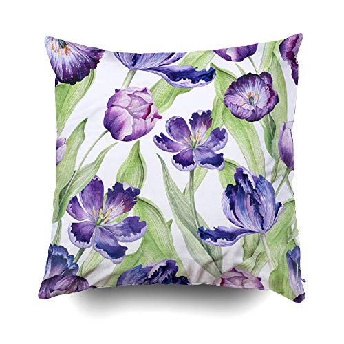 Musesh Watercolor Floral Tulip Colorful Spring Pattern Watercolour Violet Plant Purple Blossom Cushions Throw Pillow Cover for Sofa Home Decorative Pillowslip Gift Pillowcase 16X16Inch