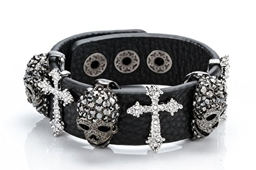 Szxc Jewelry Women's Black Leather Crystal Skull Cross Adjustable Bangel Bracelet Biker Jewelry Photo #6