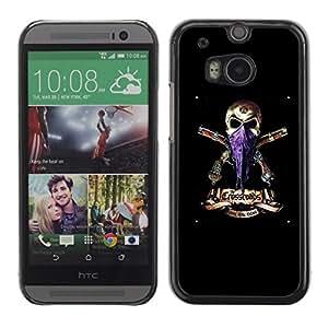 Caucho caso de Shell duro de la cubierta de accesorios de protección BY RAYDREAMMM - HTC One M8 - Gangster Skull Headscarf Guns Black