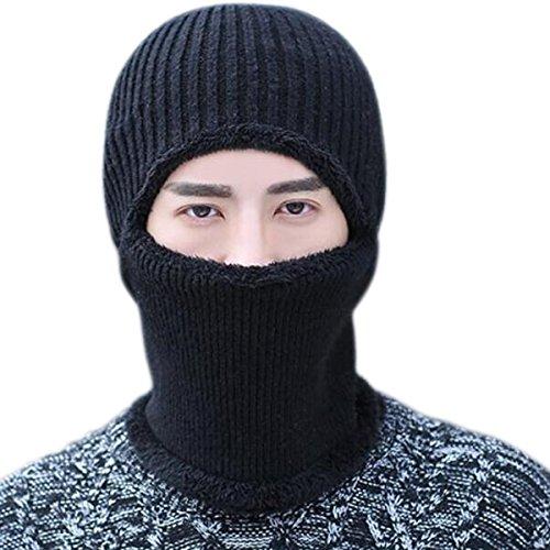 JOYEBUY Warm Knitted Balaclava Beanie Hat Windproof Ski Face Mask Winter Hats (Black) (Knit Ski Winter)