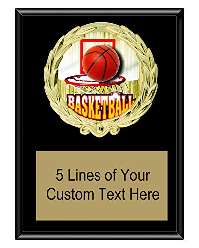 Express Medals 5x7 Black Color Basketball Plaque Award Trophy with Engraved Plate FCL412