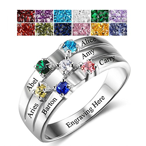 Sterling Silver 6 Birthstones Mothers Rings Personalized 6 Birthstones 6 Names and 1 Engraving Family Ring Friendship (Sisters Birthstone Heart Ring)