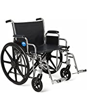 Medline Excel Extra-Wide Swing Away Foot Wheelchairs, 24 Inch