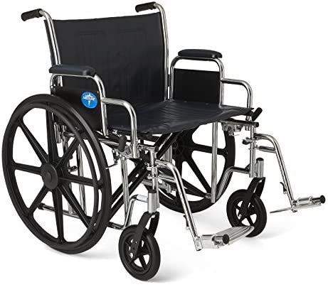 "Medline Excel Extra-Wide Wheelchair, 22"" Wide Seat, Desk-Length Removable Arms, Swing Away Footrests, Chrome Frame"