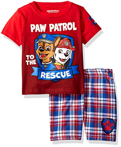 Nickelodeon Boys' 2 Piece Paw Patrol Tee and Plaid Short Set, Red, 18m