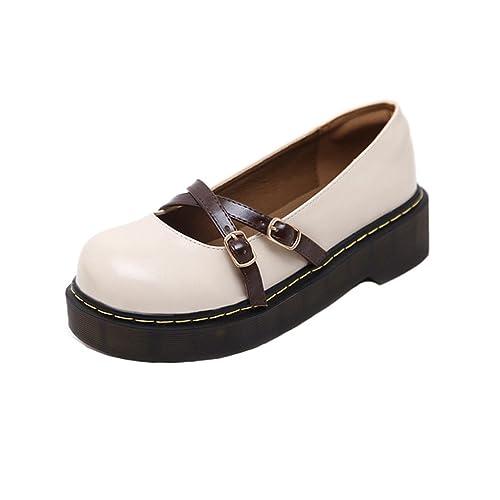 8d54d3af8de Women s Vintage Mary Jane Oxfords Classic Buckle Platform Brogue Shoes  Round Toe Retro Dress Loafers Beige
