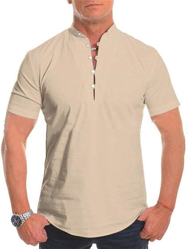 Camisa De Manga Corta para Hombres De Verano, Cuello Alto De Color Liso, Ropa Casual para Hombres Delgados: Amazon.es: Ropa y accesorios