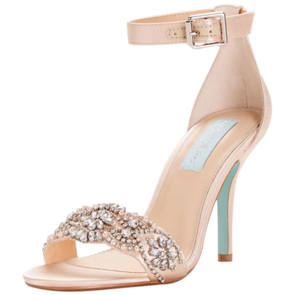 David's Bridal Embellished High Heel Sandals with Ankle Strap Style SBJUNO, Champagne, 11