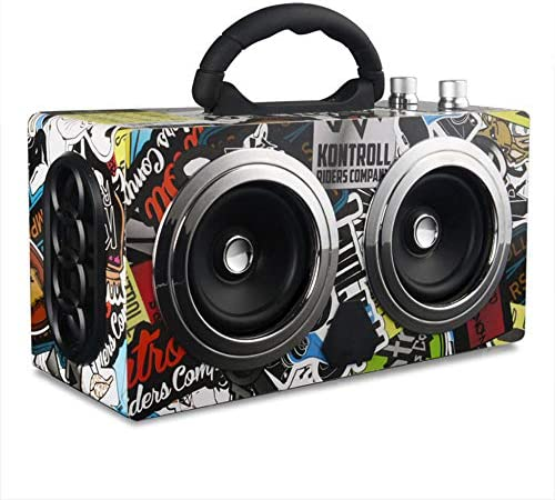 20W BluetoothスピーカーロスレスサウンドクオリティデコードHD、FMラジオ、ハンズフリースピーカーフォン、電話タブレットTV用ポータブルワイヤレスBluetoothスピーカー,Graffiti