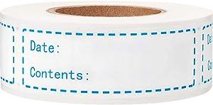 """1x3"""" Kitchen Date roll Paper Label Waterproof Food Storage Label Removable Food Storage Labels Freezer Labels Food Storage Stickers Adhesive Paper Labels,Labels for Food containers(1Roll,Blue,200pcs)"""