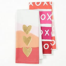 Happy Valentine's Day Flour Sack Kitchen Dish Towel 2 Pack with Gold Foil Hearts