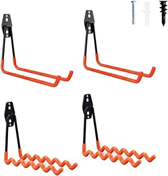 4 PC Garage Storage Hooks Wall Mount Utility Double Hangers for Organizing Tools