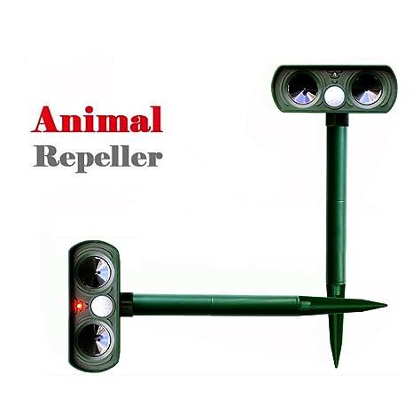 Ouguan 2 x Solar ultrasónico Perro Gato Repelente Exterior – Ahuyentador de Animales Zorro Ciervo para