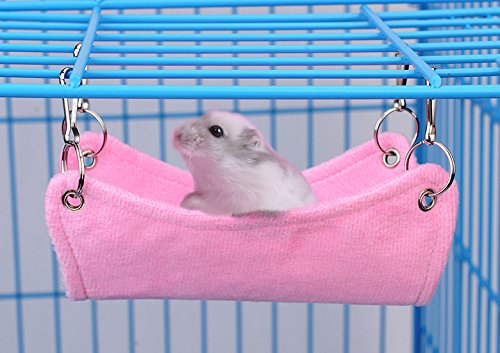 Pevor Hamster Breathable Canvas Hammock Bed Mat – Rat Mouse Hanging Bed Cage Mat With Hole in the Middle for Small Pet Cat Rat Hamster Chinchillas Ferret Guinea Pig, 2 Colors (S, Pink)