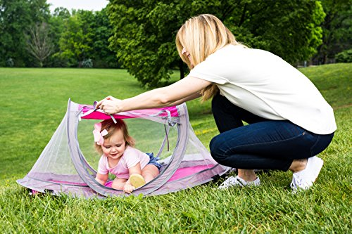 Baby Travel Bed, Travel Tent, Portable Folding Baby Bed, Mosquito Net Portable Baby Cots, Newborn Foldable Crib (Hot Pink) with UV Protection & Anchor Straps by Cobei Homegoods by Cobei Homegoods (Image #4)