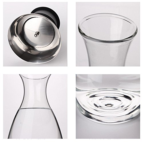 Artcome 55 oz heat resistant borosilicate water carafe glass pitcher with stainless steel flow lid - Heat resistant glass pitcher ...