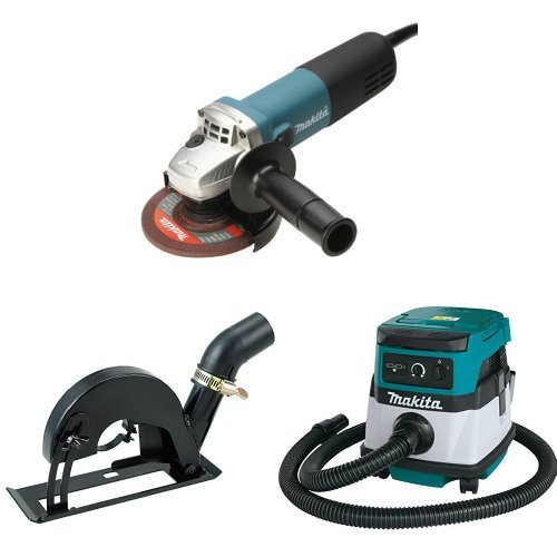 Makita 9564CV 4-1/2-Inch SJS High-Power Angle Grinder, 193794-5 Dust Extraction Cutting Guard, XCV04Z 18V X2 LXT (36V) 2.1 Gallon HEPA Filter Dry Dust Extractor/Vacuum