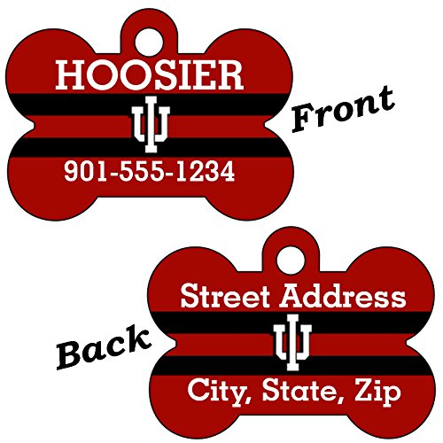 - Indiana Hoosiers Double Sided Pet Id Dog Tag Personalized With 4 Lines of Text