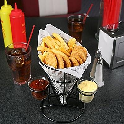 Rétro Français Fry Cône avec sauce frites | Fast Food Panier, puce Cône
