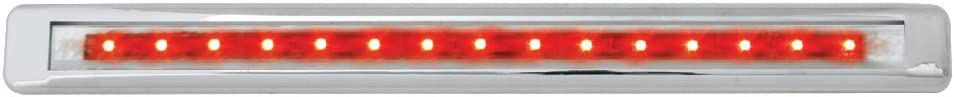 Grand General 76126 Red 12 Ultra Thin Surface Mount 15-LED Marker and Clearance Sealed Light Bar with Clear Lens and Chrome Plastic Bezel