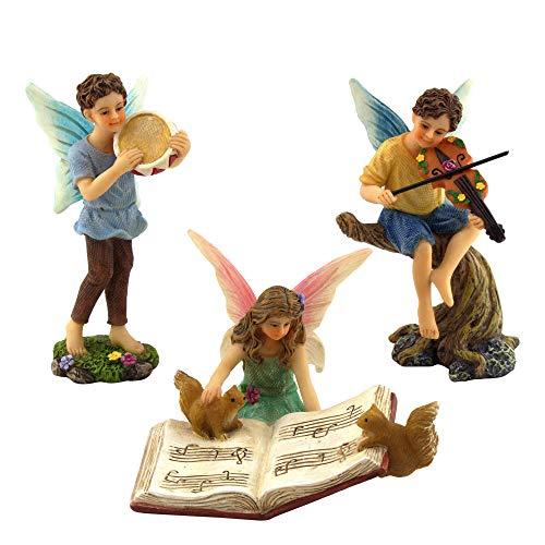 PRETMANNS Fairy Garden Fairies – Miniature Accessories – 2 Boy Fairies Playing Musical Instruments & Fairy Reading a…