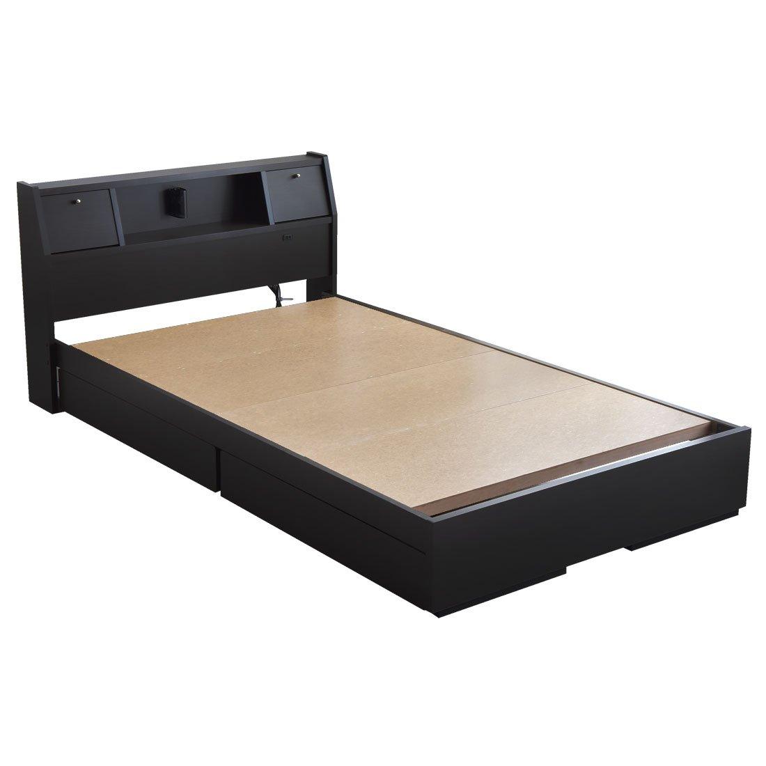 タンスのゲン 日本製 収納ベッド 引き出し コンセント付 フレームのみ 木製 宮棚 シンプル ベッドフレーム シングル ブラック 44300001 02 B06XDWNC8S 1、シングル|ブラック ブラック 1、シングル