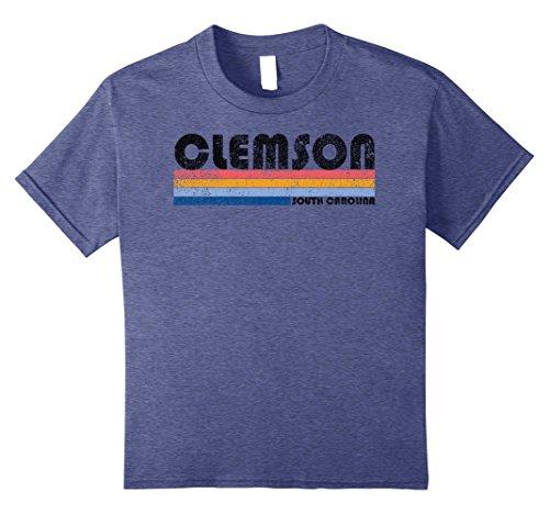 Kids Classic Vintage 1980s Style Clemson SC T Shirt 8 Heather - 80s Classic Style