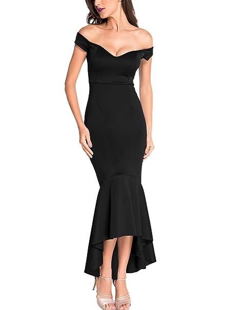 64582f88166 IDEAOLE Women s Off Shoulder Ruffle Mermaid Midi Party Dress Cocktail Dress  ((US 4-
