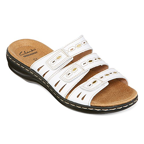 CLARKS Leisa Broach Womens Slide Sandals White Leather 9