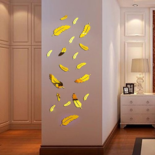 12Pcs Feather Shape Modern Mirror DIY Wall Removable Decal Vinyl Art Acrylic Wall Sticker Home Decor (Gold)