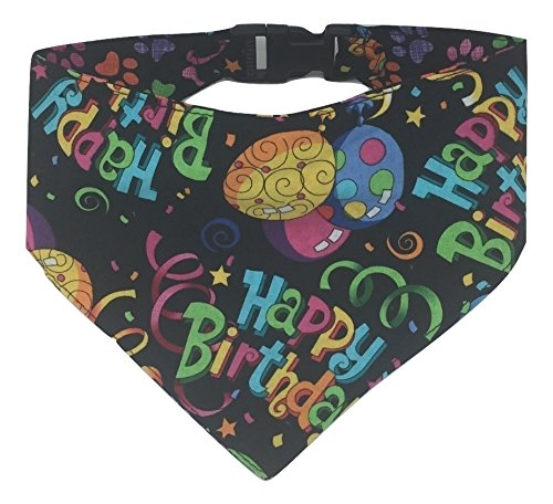 Birthday Celebration 22 Large Reversible Bright Print Pet Bandana in 100% Cotton Fabric with Flat Side Release Worry-Free Buckle for Comfortable and Stylish Wear (Large, Birthday Celebration)
