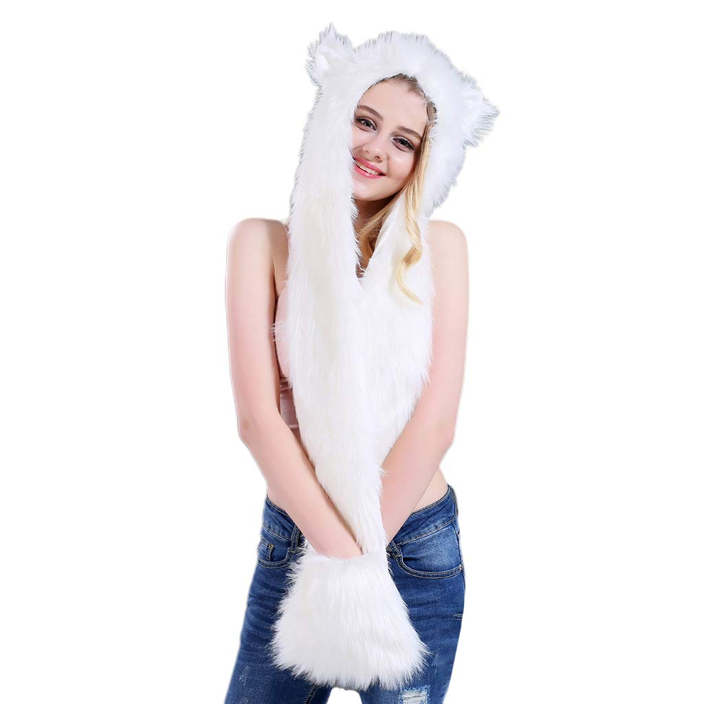 Lyqdxd 3 in 1 Women Men Fluffy Plush Scarf Hat with Paws Mittens Gloves Thicken Winter Warm Earflap Bomber Cap