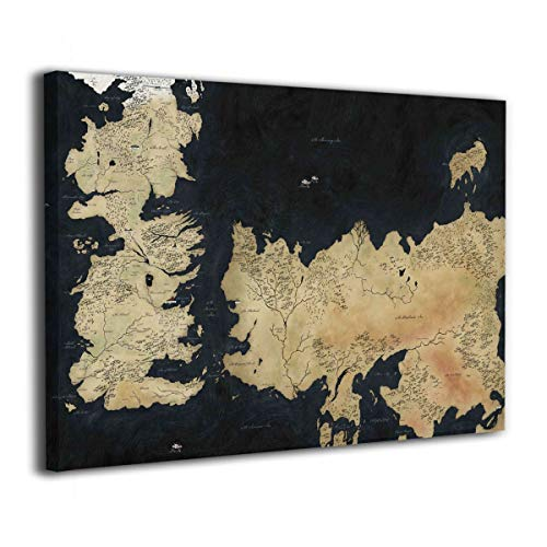 Hd8yehao Map of Westeros Canvas Wall Art Prints Picture Modern Paintings Home Decoration Giclee Artwork Wood Frame Gallery Stretched (Map Essos)