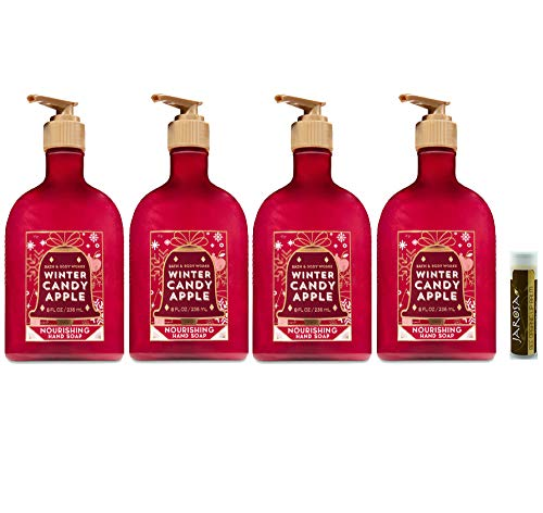 Bath & Body Works WINTER CANDY APPLE Nourishing Hand Soap Pack of 4 with a Jarosa Bee Organic Chocolate Bliss Lip Balm