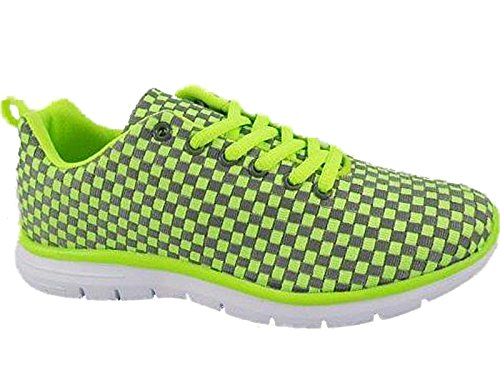 Absorbing 8 Tech Size 4 Air Shoes Sports Neon Running Trainers Ladies Gym Green Grey Shock Fitness vxX7tt
