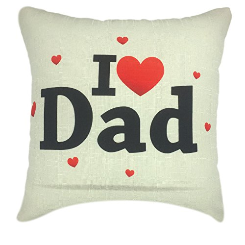 YOUR SMILE Father's Day Cotton Linen Square Decorative Throw Pillow Case Cushion Cover 18x18 Inch(45CM45CM) (I Love dad)