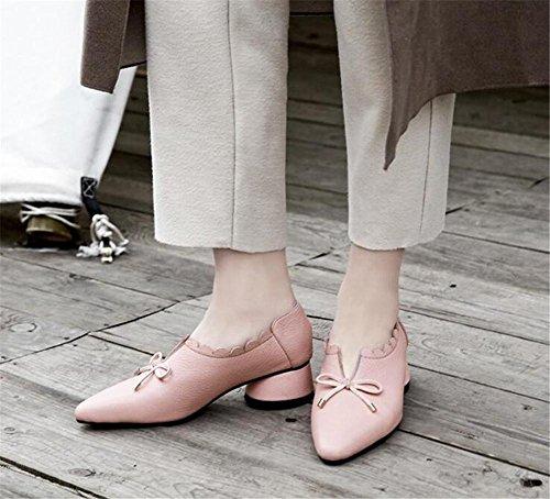 Closed vera 35To39 fiori Toemocassini pelle piatto Collare Taglia da donna di Scarpe bowknot Pink wEx7CgIqnx