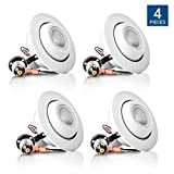 Hyperikon 4''-Inch LED Rotatable Gimbal Downlight, Dimmable, 10W (65W Equivalent), Retrofit LED Recessed Fixture, 3000K (Soft White Glow), ENERGY STAR Ceiling Light - Bathroom, Kitchen, Office (4 Pack)