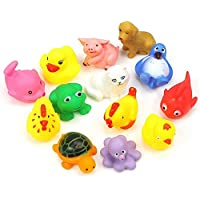 Toywale Animal Bath New/Funy Cute Cartoon Animal Style Soft Floating Squeaky Rubber Bath Toys Pack of 8