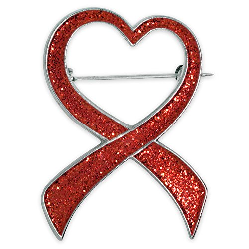 PinMart Red Glitter Heart Awareness Ribbon Valentine's Day Brooch ()