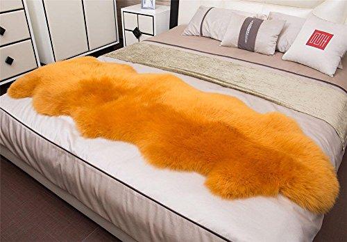 FOLWEP Genuine Sheepskin Rug Double Pelt Natural Fur – Sheepskin Rug Pad For Bedroom living room Double 2.3ft x 6.6ft, Gold