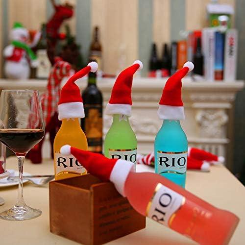 DishyKooker 10 Stücke Rotwein Flaschenverschlüsse Mini Weihnachtsmütze Party Tischdekoration Haushalt