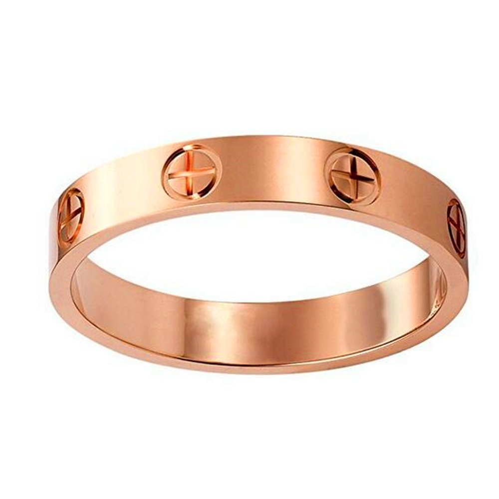 Fire Ants Love Ring-Lozeux Shine Celebrity Plated Band Ring for Women (rosegold, 7)